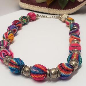 One of a kind Vintage Cloth Beaded Necklace